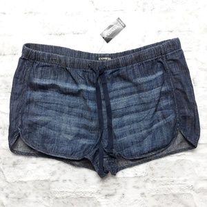 Express| Dark Wash Chambray Tie Waist Shorts